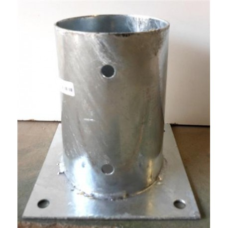 BASE POSTE 100 MM GALVANIZADO